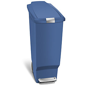 simplehuman® Plastic Slim Kitchen Waste Pedal Bin - Blue 40L