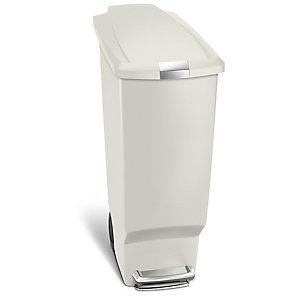 simplehuman Plastic Slim Kitchen Waste Pedal Bin - Stone 40L