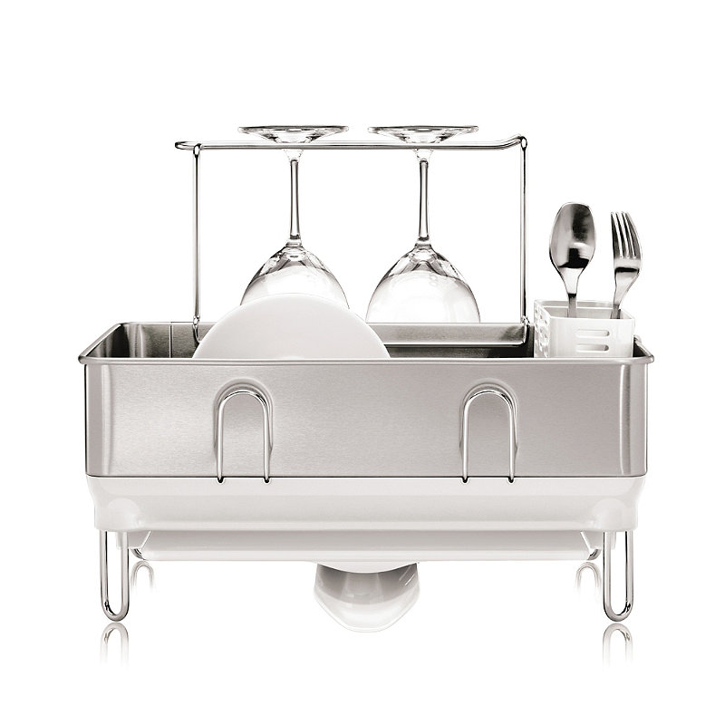 simplehuman® Steel Frame Compact Dish Drainer Rack Silver