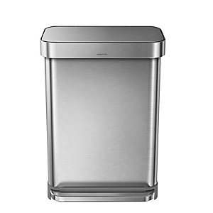 simplehuman® Kitchen Waste Pedal Bin - Brushed Steel 55L