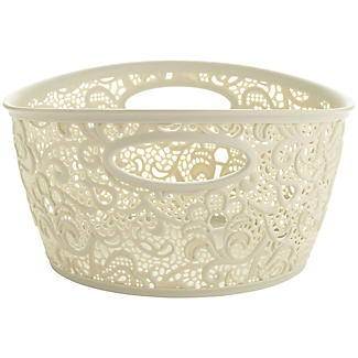 Mini Lace-Effect Storage Tub Cream alt image 2