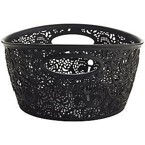 Mini Lace-Effect Storage Tub Black