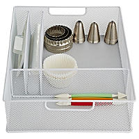 Steel Mesh Kitchen Drawer Organiser 4 Hole Tray - Small White