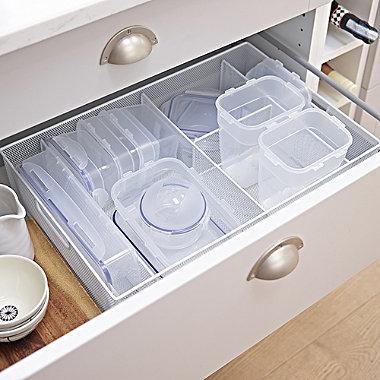Steel Mesh Kitchen Drawer Organiser 5 Hole Tray - Large White