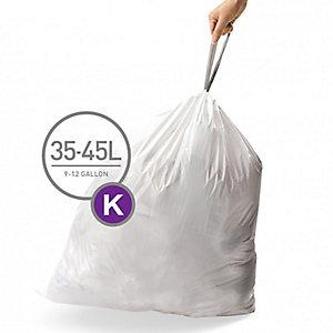 60 simplehuman Size K Drawstring Bin Liners - White Bags 35-45L