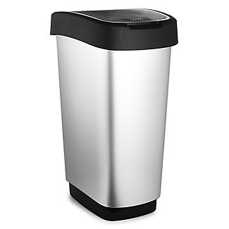 Rotho Kitchen Waste Flip Top Lid Bin - Metallic Effect 50L