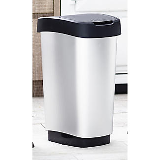 Rotho Kitchen Waste Flip Top Lid Bin - Metallic Effect 50L alt image 2