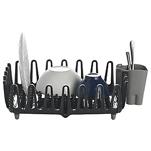 ILO Clam Shell Small Compact Dish Drainer Rack - Grey