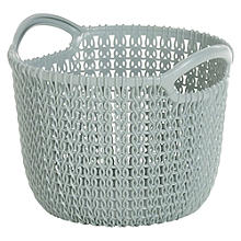 Small Knit-Effect Basket Blue
