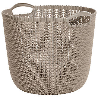 Large Round Knit-Effect Basket Dune alt image 1