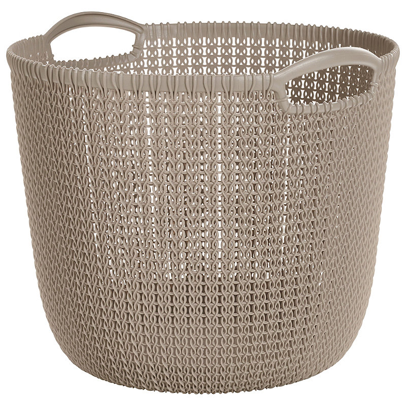 Curver Sand Knit Storage Baskets: High Quality, Strong Plastic Large Knit-Effect Round