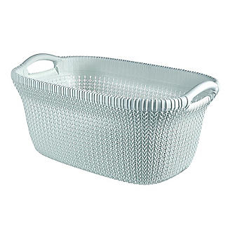 Knit-Effect Laundry Basket Blue