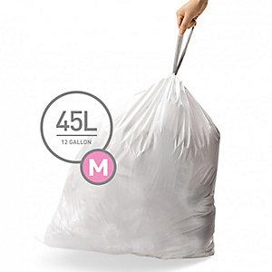 60 simplehuman Size M Drawstring Bin Liners - White Bags 45L