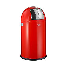 Wesco® Pushboy Retro Kitchen Waste Push Top Bin - Red 50L