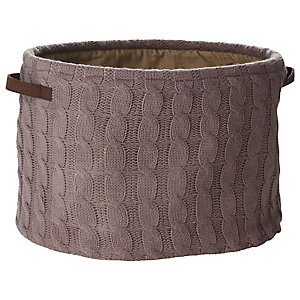 Oval Cappuccino Cable Knit Storage Tote, 25L