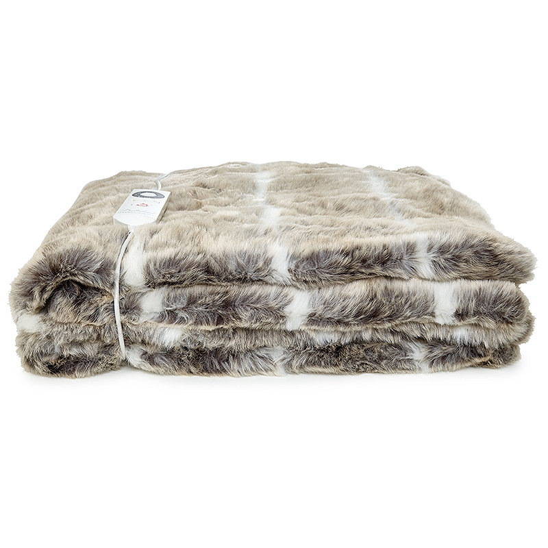 Alaskan Husky Faux Fur Heated Throw
