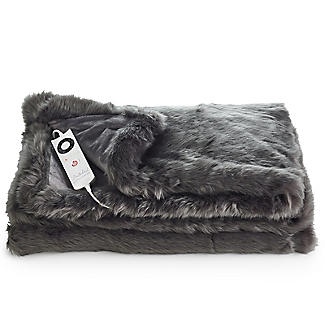 Slate Grey Deluxe Faux Fur Heated Throw