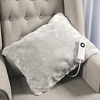 Pearl Grey Faux Fur Heated Cushion alt image 2