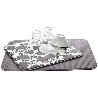 2 Double Sided Drying Mats Grey Rose alt image 1