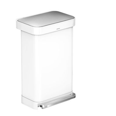 White Kitchen Bin simplehuman slimline kitchen pedal bin 45l - white