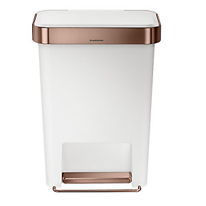 simplehuman Silent Close Kitchen Waste Pedal Bin - White 45L