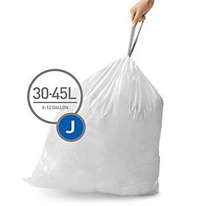 60 simplehuman Size J Drawstring Bin Liners - White Bags 45L