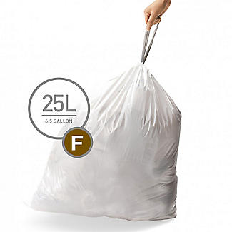 60 simplehuman Size F Drawstring Bin Liners - White Bags 30L