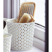 Faux Rattan Storage Pot medium x 2