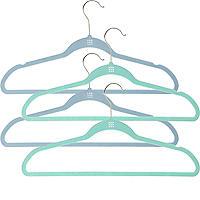 4 extrastarke Kleiderbügel mit Antirutsch-Beschichtung, ozeanblau