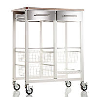 Hahn Double Onda Kitchen Trolley, Warm White/Beech
