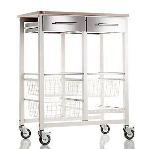 Hahn Double Onda Kitchen Trolley, Warm White/Beech