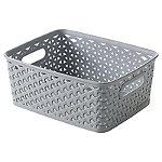Small Faux Rattan Storage Basket Grey