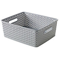 Medium Faux Rattan Storage Basket Grey