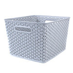 Large Faux Rattan Storage Basket Grey