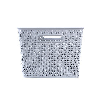 Large Faux Rattan Storage Basket Grey alt image 5