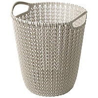 Mini Knit Effect Waste Paper Basket Dune