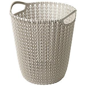 Mini Knit Effect Waste Paper Basket Dune