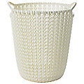 Mini Knit Effect Waste Paper Basket Cream