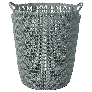 Mini Knit Effect Waste Paper Basket Blue