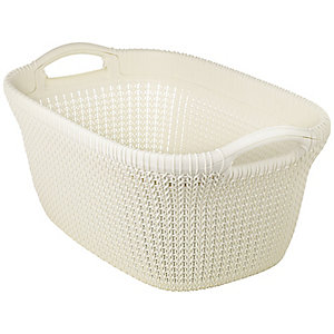 Knit Effect Laundry Basket Cream