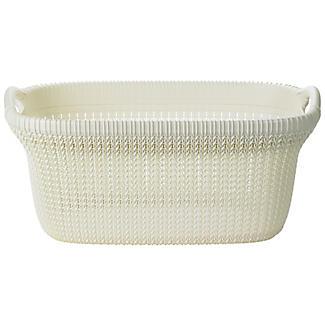 Knit Effect Laundry Basket Cream alt image 4
