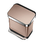 simplehuman Rectangular Pedal Bin - Rose Gold 30L