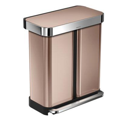 simplehuman&174 58 litre Dual Compartment Pedal Bin Rose Gold