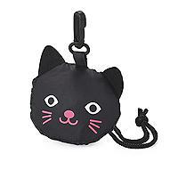Faltbare Einkaufstasche in Schwarz mit Katzen-Design