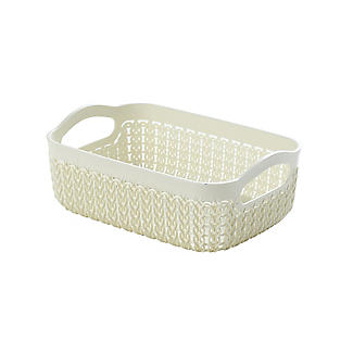 Curver Knit Effect Storage Tray Small - Cream