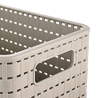 Rotho Lattice Effect Storage Basket Medium - Stone alt image 2