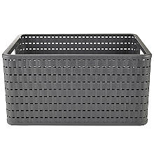 Rotho Lattice Effect Storage Basket Large - Slate Grey