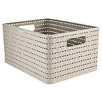 Rotho Lattice Effect Storage Basket Large - Stone