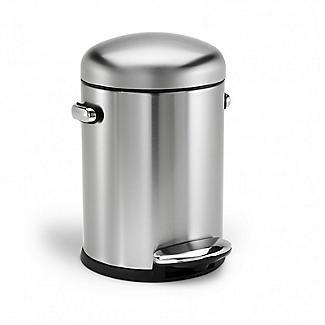 simplehuman Retro Bathroom Pedal Bin, Brushed Steel 4.5L