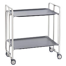 Hahn Gala Folding 2-Tier Serving Trolley White with Dark Grey Trays